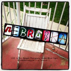 LOVE Letters Alphabet Photography NEBRASKA wood sign.  These can be custom first or last name or word in black and white or color in ABC pictures.  You choose the letter options / photos.  Great for birthday present, wedding, shower, baby, Christmas gifts, graduation, and your own decor.  Also great for Husker fans, Cornhuskers, and Go Big Red, GBR.