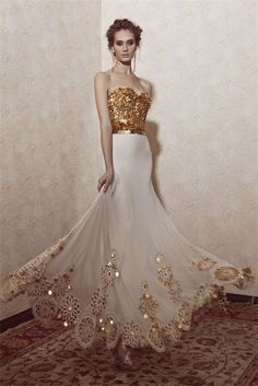 white and gold glamour wedding gown Evening Dresses, Prom Dresses, Wedding Dresses, Formal Dresses, Flowy Dresses, Beautiful Gowns, Beautiful Outfits, Gorgeous Dress, Elegant Dresses