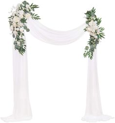 Ling's moment Artificial Wedding Arch Flowers Kit(Pack of 3) - 2pcs Ivory Greenery Aobor Floral Arrangement with 1pc Semi-Sheer Swag for Ceremony and Reception Backdrop Decoration