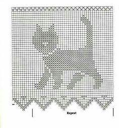 Crochet Skull Patterns, Crochet Mandala Pattern, Crochet Borders, Crochet Diagram, Crochet Chart, Crochet Stitches, Cross Stitch Patterns, Filet Crochet, Gato Crochet