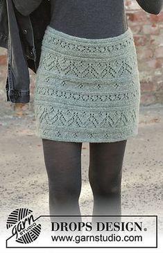 Ravelry: Mint Tulip pattern by DROPS design Skirt Pattern Free, Crochet Skirt Pattern, Crochet Skirts, Knit Skirt, Top Pattern, Crochet Clothes, Crochet Lace, Lace Patterns, Knitting Patterns Free
