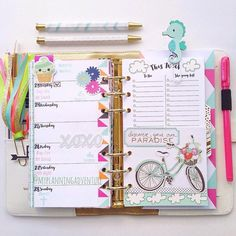 """This week I'm striving to Discover my own Paradise. My little one and I definitely found it today when we got back into our pjs after swim lessons to have a """"PJ Craft Day"""" . #planner #plannergirl #plannerlove #planneraddict #plannerclips #plannertassel #washi #washilove #washiaddict #targetdollarspot #filofax #filolove #wpplannerlove #colorcrush #kikkik #plannernerd #planneraddict"""