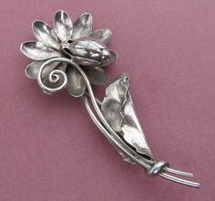 Georg Jensen Antique Sterling Silver Flower Brooch USA Hand Wrought Pin Circa 1940