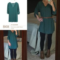 Stitch Fix 19 Cooper Clemency Split Neck Tunic - this dark green pattern is gorgeous, and this looks cute belted or loose.