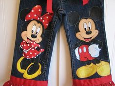 Custom Disney clothing  Minnie, Mickey  w 2 LARGER SIZE characters on the front .Hand Painted  jeans  Sz 18m  to 24 m, 2 to size 10 on Etsy, $42.00