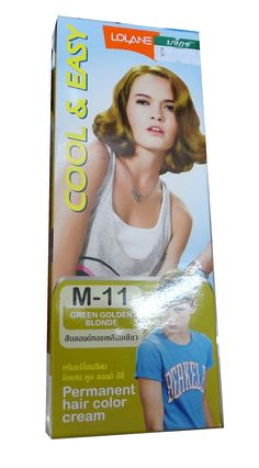 Permanent Hair M-11 Green Golden Blonde Color Cream 50 Ml. 45 G X 2 Box Thailand by Lolane >>> Check this awesome product by going to the link at the image.