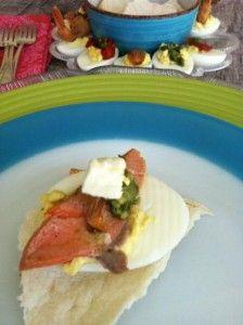 Deviled Eggs with Salmon Feta and Roasted Garlic ummmm