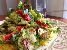 Brussels Sprouts Pesto Pasta! Gluten Free, Vegan, Body Ecology Diet, Specific Carb Diet SCD Friendly & Paleo! glutenfreehappytummy #spaghetti squash #yum #dinner