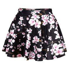 Black Peach Blossom Print Pleated Skater Skirt via Polyvore featuring skirts, floral print skirt, pleated skirt, skater skirt, flared skirt and circle skirt