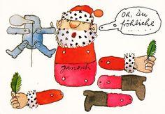 Janosch WeihnachtsPOSTkarte Weihnachts-Hampelmann zum Basteln Weihnachtskarten Weihnachtskarten witzig