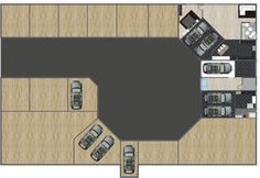 Car dealership or automobile hub?  3D floor plan featuring interior & exterior elements, designed in #RoomSketcher floor planner with brand name items.  By lucas99, #RoomSketcher user.  http://planner.roomsketcher.com/?ctxt=rs_com  #floorplan #floorplanner #cars #automobile #dealership #interior #exterior #design