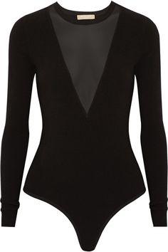 Michael Kors Collection - Mesh-paneled Stretch-jersey Bodysuit - Black