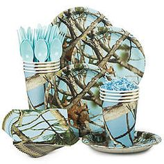 Check out Light Blue Camo Standard Tableware Kit Serves 8 - Wholesale Party Supplies from Wholesale Party Supplies Baby Shower Camo, Baby Shower Table, Baby Shower Parties, Baby Shower Themes, Shower Ideas, Camouflage Baby, Camouflage Wedding, Camo Wedding, Shotgun Wedding