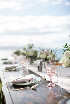 Blush Vintage + Gold Rim Glassware by Set Maui wedding inspiration Planner: Opihi Love PC: Maui Maka Photography