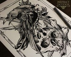 """Tattoo Print """"Raven and Skull"""".A3, high quality textured paper for only 13$"""