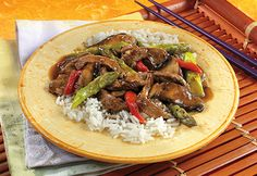 This quick and delicious stir-fry features colorful peppers, asparagus and mushroomstogether with tender beef in a mouthwatering sauce.