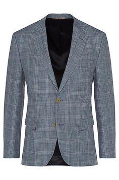 'Jayden' | Regular Fit, Itlian Linen Virgin Wool Sport Coat, Open Blue