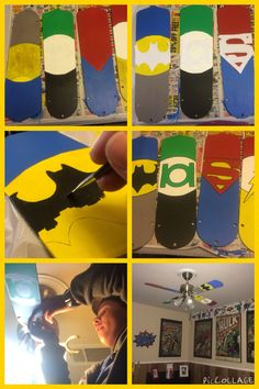 Creating a superhero ceiling fan by painting the fan blades.