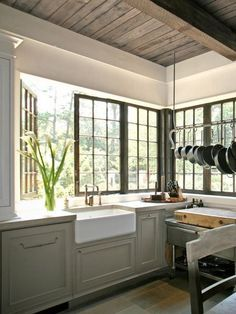 Swing-out back splash windows wrapping the space... #small #kitchen #ideas