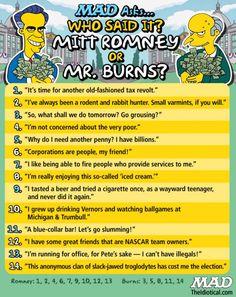 Who said it: Mitt Romney or Mr. Burns?