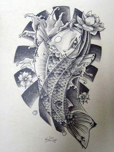Japanese Koi Tattoo Designs | Black n' White Japanese Koi by EdilsonR74