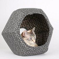 Cheap The Cat Ball a Cave Style Cat Bed made in Grey Calico Fabric Victorian…
