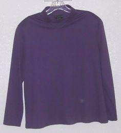 SOUTHERN LADY Purple Grape Long Sleeve Shirred Mock Turtleneck Knit Top Sz. 20 #SouthernLady #KnitTop #Casual