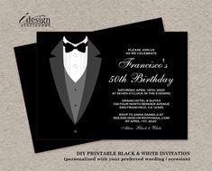 Black And White Birthday Invitation With Tuxedo | Printable All Black…