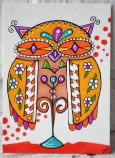 Happy Happy Owl on a perch!! LWick ACEO Original animal bird doodle design owl #LindaWickerStyle