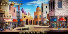TheatreWorld Backdrops AGRABAH MARKET PLACE scenic backdrop. Rent me today! #aladdin #handpainted #setdesign #scenicdesign #palace #middleeast #sultan #sultanspalace #rentme