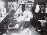 Robert Agazarian's barbershop on Portland's Fore St. in 1909. Agazarian returned to Armenia to help with the defense of his people during the Genocide. He was killed in 1915.