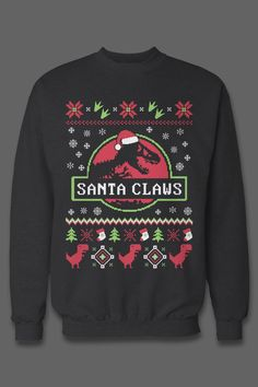 The best gift for Jurassic Park fans! I need this ugly christmas sweater Christmas Humor, Christmas Shirts, Christmas Sweaters, Christmas Jumpers, Christmas Clothes, Christmas Mood, Fall Clothes, Merry Christmas, Santa Claws
