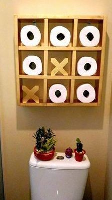 21 Best Toilet Paper Storage Ideas - Cool DIYs Tic Tac Toe Storage The decoration of home is similar to an exhibition space that reveals our very own tastes and design. Best Toilet Paper, Toilet Paper Storage, Diy Casa, Home Projects, Wooden Projects, Craft Projects, Diy Furniture, Furniture Storage, Bedroom Furniture