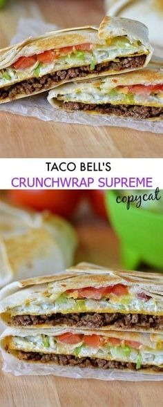 Taco Bell Crunchwrap Supreme (Copycat) Verdict: wow, this had some major flavor. Tasty and fun to make, also very filling. To add to the authenticity I used Taco Bell seasoning and hot sauce! Mexican Food Recipes, Beef Recipes, Dinner Recipes, Cooking Recipes, Healthy Recipes, Healthy Meals, Taco Bell Recipes, Healthy Food, Spinach Recipes