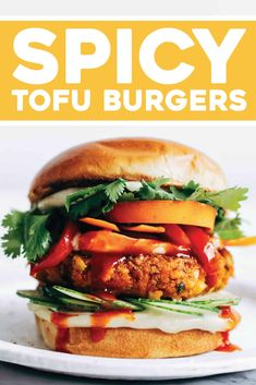 Spicy Tofu Burgers! YES. Crumbled tofu pressed together with lemongrass, sriracha, and fresh herbs, all browned up into a delicious flavor-bomb burger. #burger #tofu #vegan Tofu Recipes, Burger Recipes, Whole Food Recipes, Vegetarian Recipes, Cooking Recipes, Easy Recipes, Burger Ideas, Weeknight Recipes, Healthy Recipes