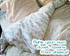 Diy Sewing Projects How-To: Duvet Cover from Sheets - Tamar at Nest Decorating shows you how to take flat bed sheets and turn it into a duvet Sewing Hacks, Sewing Crafts, Sewing Projects, Diy Projects, Sewing Tips, Sewing Ideas, Sewing Tutorials, Quilt Tutorials, Diy Crafts