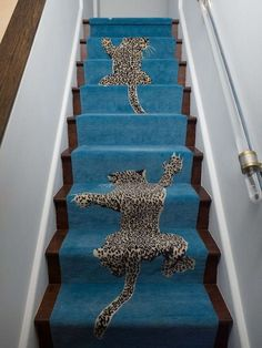 Bespoke turquoise stair runner from the Climbing Leopard design by Diane von Furstenberg for The Rug Company Wooden Staircases, Wooden Stairs, Stairways, Spiral Staircases, Painted Stairs, Leopard Carpet, Leopard Rug, Leopard Decor, Leopard Chair