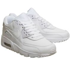 6fa54fbebae Nike Air Max 90 Trainers White Mono Leather ❤ liked on Polyvore featuring  shoes
