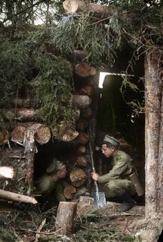 Russian soldiers at the dugout