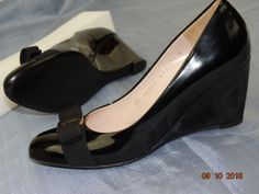 WOMEN SALVATORE FERRAGAMO VARA MIRABEL BLACK PATENT LEATHER PUMP 7.5 B  | eBay