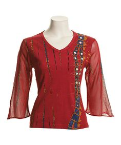 Take a look at the Le Mieux Red & Blue Abstract Top - Women on #zulily today!