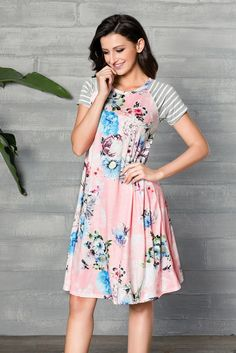 Pink Backdrop A-line Short Sleeve Floral Print Loose T-shirt Dress  – ModeShe.com