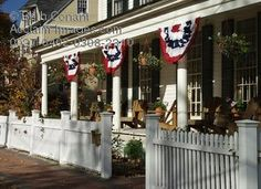 New England Porch W/ American Flag Bunting, Photo, Photos, Pictures, Photographs