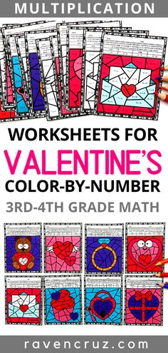 These multiplication color by number worksheets are the perfect activity to incorporate multiplication practice around Multiplication Activities, 3rd Grade Math Worksheets, Math Activities, Number Worksheets, Holiday Activities, Math Games, Math Math, Math Fractions, Kindergarten Math