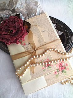 Vintage Romantic Roses and Lace Wedding Invitation Handmade