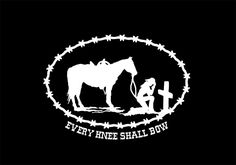 Decal Cowboy Cowgirl Christian every knee shall bow sticker horse country oval…