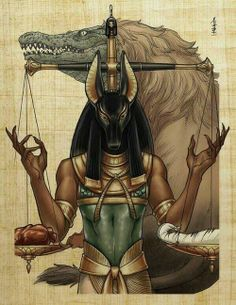 """Anubis and the Scale of Ma'at. Your heart is placed against the feather (truth). If your heart is lighter than the feather, you shall pass into the """"Field of Peace."""" If not, your heart will be eaten by Ammut (devourer of the Dead)."""