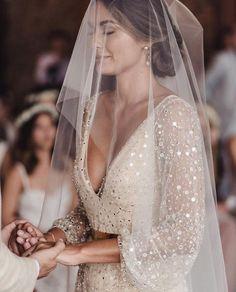 wedding dress boho Long sleeved two piece cream sequinned boho wedding gown Boho Wedding Gown, Wedding Veils, Lace Wedding, Lace Bride, Bridal Veils, Wedding Bride, Wedding Garters, Wedding Makeup, Romantic Wedding Dresses