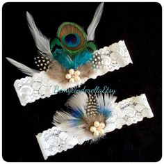 Bridal garter set peacock feather Wedding garter set keepsake bridal garter