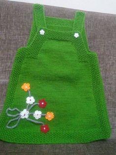 "HUZUR+SOKAĞI+(Yaşamaya+Değer+Hobiler) ""Nice knitted green dress with flowers for our little girls ."", ""Ravelry: Project Gallery for Junior pattern by DR Easy Knitting Patterns, Knitting For Kids, Knitting Projects, Baby Knitting, Crochet Baby, Knit Crochet, Knit Baby Dress, Knitted Baby Clothes, Knitted Hats"